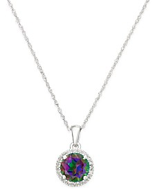 Mystic Topaz (1-1/2 ct. t.w.) and Diamond Accent Round Pendant Necklace in 14k White Gold
