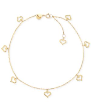 Heart Charm Anklet in 14k Gold -  Macy's