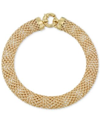 Wide Textured Mesh Bracelet in 14k Gold Bracelets Jewelry