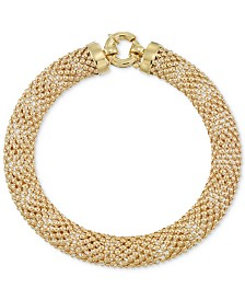 Wide Textured Mesh Bracelet in 14k Gold
