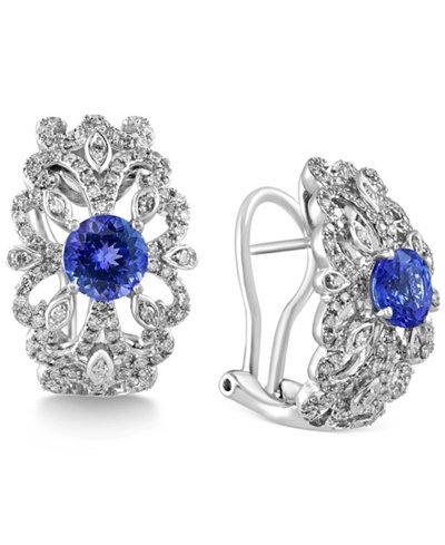 Tanzanite Royalé by EFFY Tanzanite (1-3/4 ct. t.w.) and Diamond (5/8 ct. t.w.) Earrings in 14k White Gold