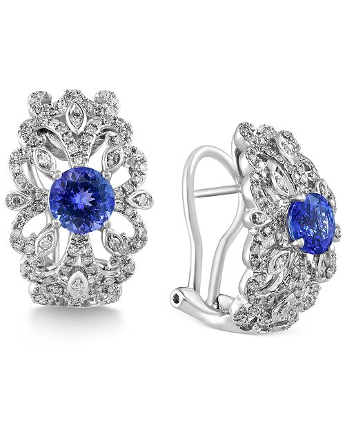 EFFY Collection Tanzanite Royalé by EFFY Tanzanite (1-3/4 ct. t.w.) and Diamond (5/8 ct. t.w.) Earrings in 14k White Gold