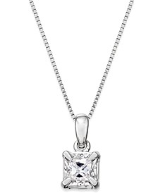 Princess-Cut Diamond Solitaire Pendant Necklace (1/4 ct. t.w.) in 14k White Gold