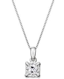 Princess-Cut Diamond Solitaire Pendant Necklace (1/4 ct. t.w.) in 14k White Gold