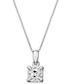 Diamond solitaire necklace shop diamond solitaire necklace macys princess cut diamond solitaire pendant necklace 14 ct tw in aloadofball Choice Image