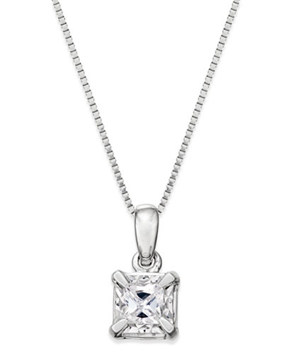 Princess-Cut Diamond Solitaire Pendant Necklace (1/4 ct. t