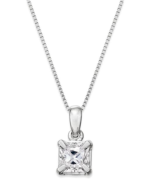 Macy's Princess-Cut Diamond Solitaire Pendant Necklace (1/4 ct. t.w.) in 14k White Gold