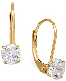 Solitaire Cubic Zirconia Hoop Earrings in 14k Yellow, White, or Rose Gold