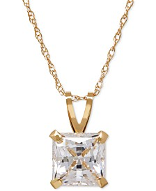 Princess-Cut Cubic Zirconia Pendant Necklace in 14k Gold or White Gold