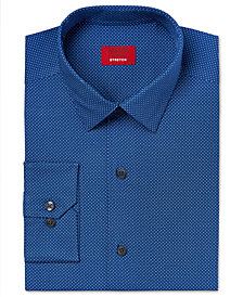 Alfani Slim Fit + Stretch Blue Pindot Dress Shirt, Created for Macy's