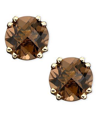 Macy S 14k Gold Earrings Smoky Quartz Stud 3 Ct T W Earrings