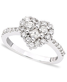 Classique by EFFY Diamond Heart Ring (9/10 ct. t.w.) in 14k White Gold or Rose Gold