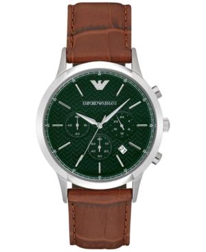 Emporio Armani Men's Chronograph Renato Light Brown Leather Strap Watch 43mm AR2493
