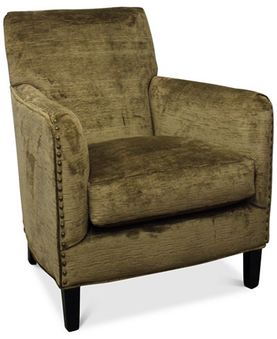 Calvin Brass Nail Trim Fabric Accent Chair