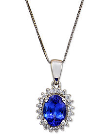 Tanzanite (1-1/8 ct. t.w.) and Diamond (1/6 ct. t.w.) Pendant Necklace in 14k White Gold