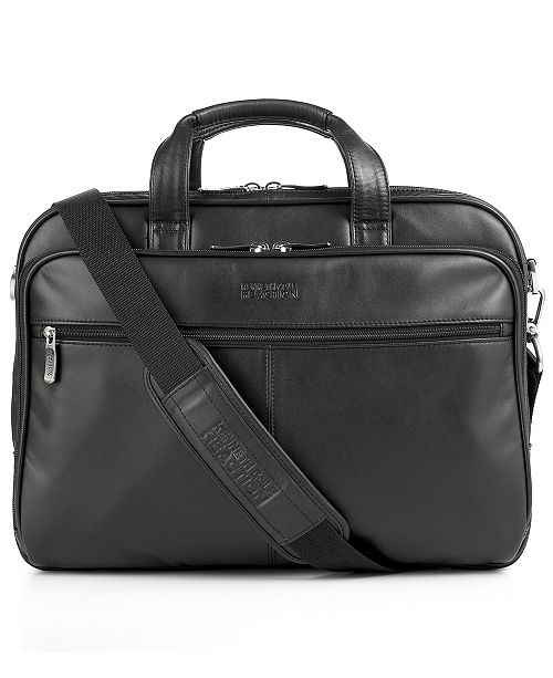 Kenneth Cole Reaction Manhattan Leather Double Gusset Laptop Briefcase