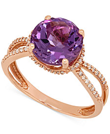 Amethyst (2-1/2 ct. t.w.) and Diamond (1/6 ct. t.w.) Split Shank Ring in 14k Rose Gold