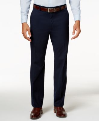 Men's Traveler Navy Solid Classic-Fit Pants, Created for Macy's