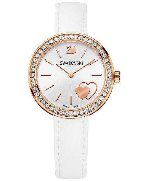 Swarovski Daytime White Leather Strap Watch 34mm