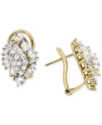 Diamond Cluster Earrings (1 ct. t.w.) in 14k Gold, Created for Macy's