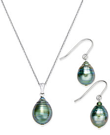 Tahitian Pearl (8mm) Pendant Necklace and Matching Drop Earrings Set in Sterling Silver
