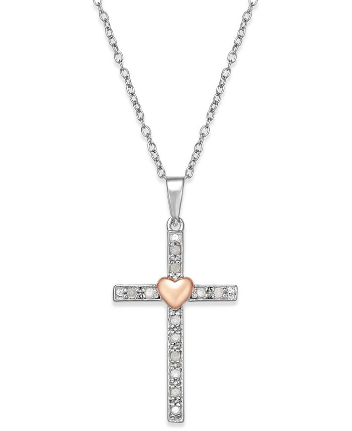Macy's - Diamond Two-Tone Cross Pendant Necklace (1/10 ct. t.w.) in Sterling Silver with 18k Rose Gold-Plated Sterling Silver Accent