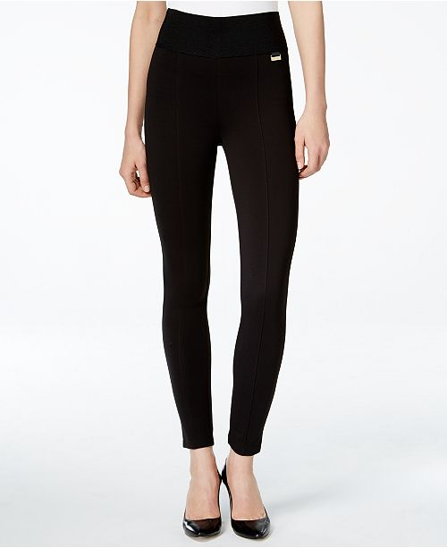Calvin Klein Pull-On Wide-Waistband Knit Pants