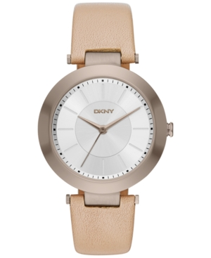 Dkny Women's Stanhope Beige Leather Strap Watch 36mm NY2459