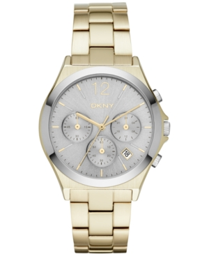 Dkny Women's Chronograph Parsons Gold-Tone Ion-Plated Stainless Steel Bracelet Watch 38mm NY2452