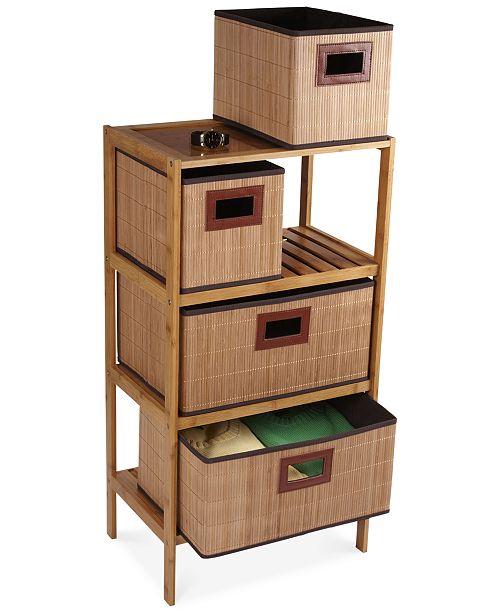 Household Essentials Bamboo 4 Drawer Storage Chest
