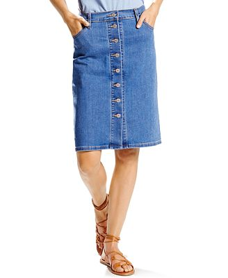 Levi's® Button-Front Denim Skirt - Skirts - Women - Macy's