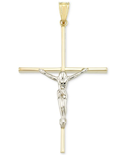 Italian Gold Two-Tone Crucifix Cross Pendant in 14k Gold and White Gold