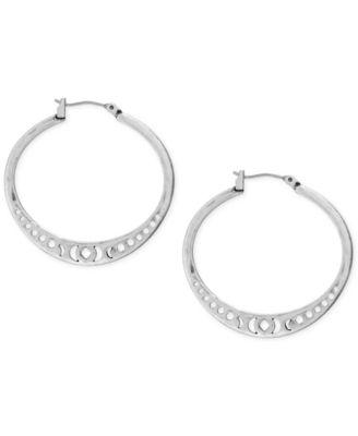 """Silver-Tone Openwork 1-3/8"""" Hoop Earrings"""