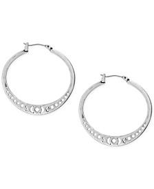 "Lucky Brand Silver-Tone Openwork 1-3/8"" Hoop Earrings"