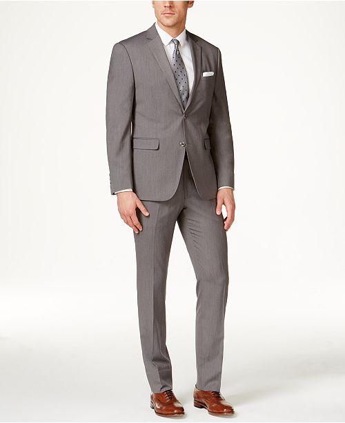 Perry Ellis Portfolio Men's Grey Pinstripe Slim-Fit Suit