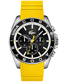 Lacoste Men's Chronograph Westport Yellow Silicone Strap Watch 45mm 2010852