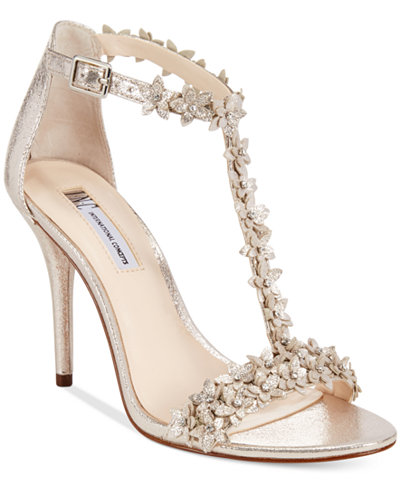 INC International Concepts Women's Rosiee T-Strap Embellished Evening  Sandals, Created for Macy's - INC International Concepts Women's Rosiee T-Strap Embellished