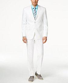 Perry Ellis Portfolio White Solid Linen-Blend Slim-Fit Suit