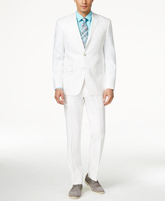 Perry Ellis Portfolio White Solid Linen-Blend Slim-Fit Suit ...