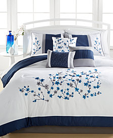 Kira Navy 7-Pc. Comforter Sets, Created for Macy's, Embroidered