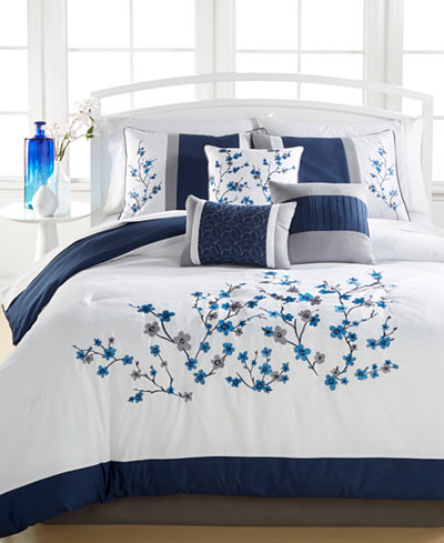 Kira Navy 7 Pc Queen Comforter Set Embroidered Bed In