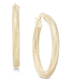 Textured Mesh-Look Hoop Earrings in 10k Gold
