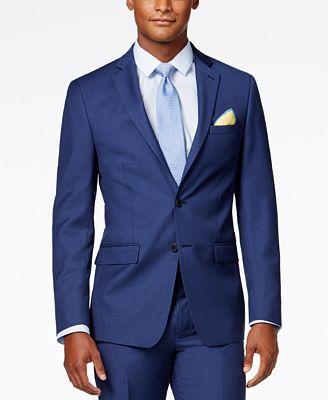 Calvin Klein X-Fit Blue Solid Slim Fit Jacket
