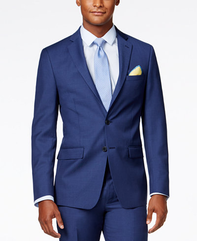 Calvin Klein X-Fit Blue Solid Slim Fit Jacket