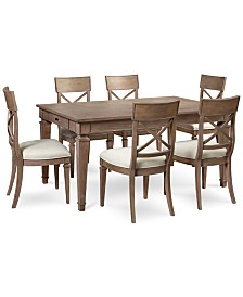 winston  piece dining set dining table amp  side chairs: seven piece dining set