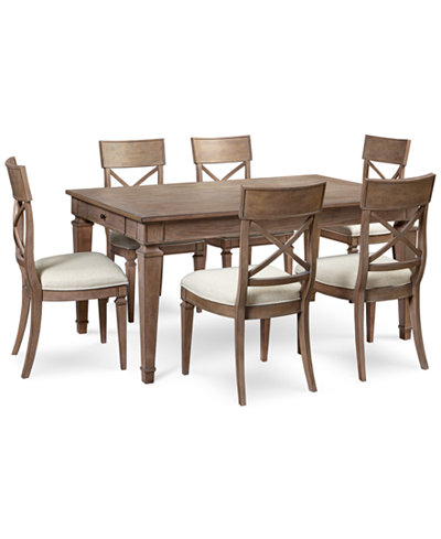 Winston 7 piece dining set dining table 6 side chairs for Macys dining table