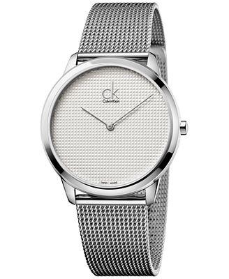 Calvin Klein Men's Minimal Swiss Stainless Steel Mesh Bracelet Watch 40mm K3M2112Y