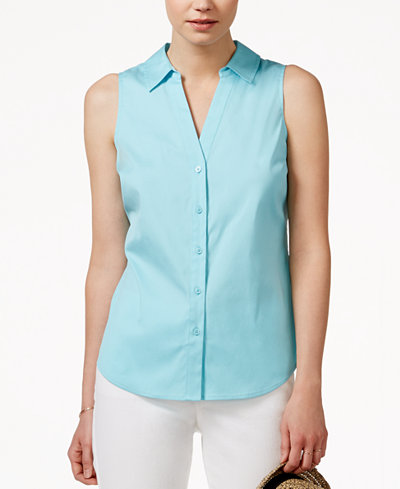 Maison jules sleeveless button down shirt only at macy 39 s for Sleeveless cotton button down shirts