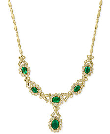 Brasilica by EFFY Emerald (3-5/8 ct. t.w.) and Diamond (1-1/2 ct. t.w.) Necklace in 14k Gold, Created for Macy's