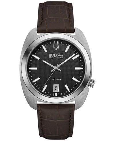 Bulova Accutron II Men's Brown Leather Strap Watch 40mm 96B253